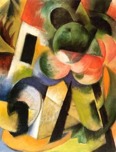 abstrakte-gemaelde - Kleine Komposition-II (haus-mit-baeumen) - Marc, Franz