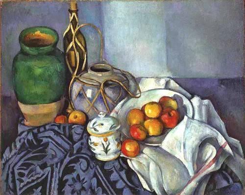 bilder-fuer-ein-esszimmer - Nature morte avec des pots et des fruits, 1890 - Cezanne, Paul