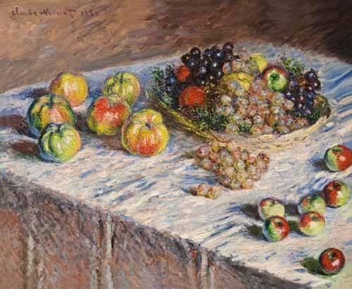 stillleben-gemaelde - Nature morte avec des pommes et du raisin - Monet, Claude