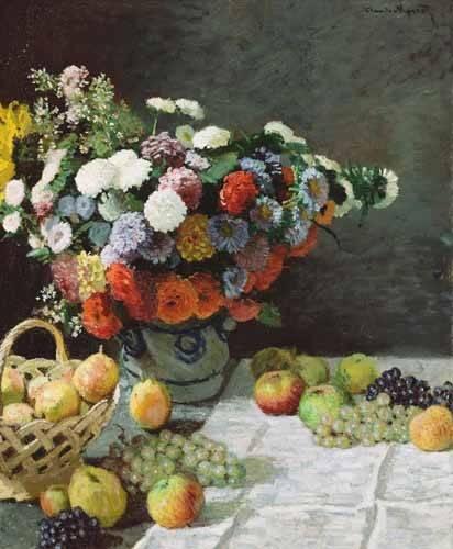 stillleben-gemaelde - Nature morte avec fleurs et fruits, 1869 - Monet, Claude