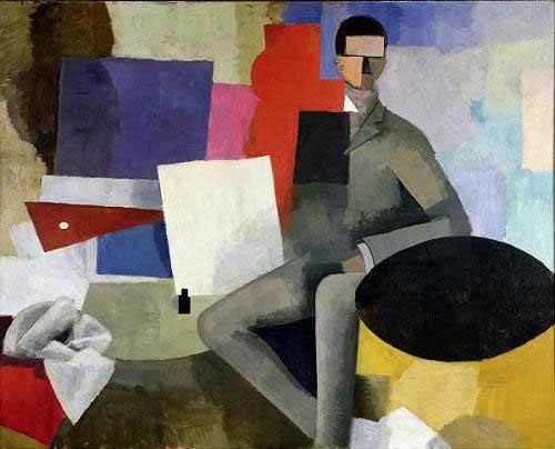 abstrakte-gemaelde - Der Sitzmann oder der Architekt - Fresnaye, Roger de la