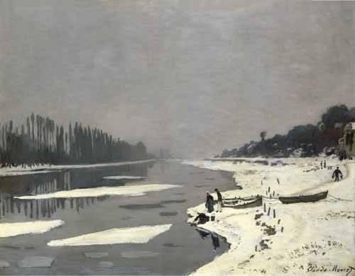 landschaften-gemaelde - Glaçons sur la Seine à Bougival, 1867-68 - Monet, Claude