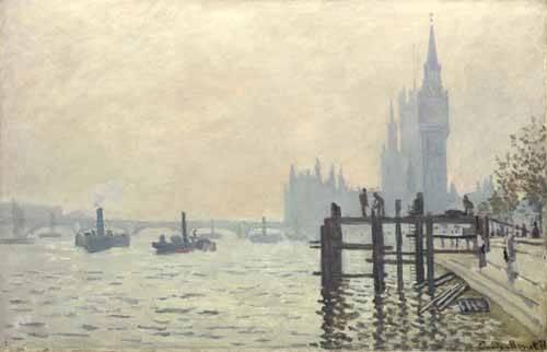landschaften-gemaelde - La Tamise à Westminster, 1871 - Monet, Claude