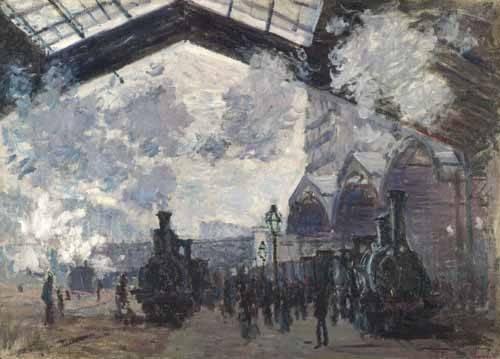 landschaften-gemaelde - La Gare Saint-Lazare, 1877 - Monet, Claude
