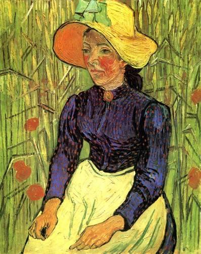 portraetgemaelde - Jeune paysanne assise devant un champ de blé - Van Gogh, Vincent