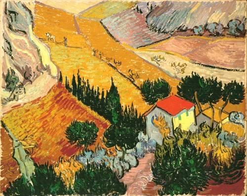 landschaften-gemaelde - Paysage avec maison et laboureur, 1889 - Van Gogh, Vincent