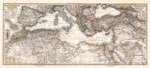 alte-karten-und-zeichnungen - Mar Mediterraneo y Norte de Africa (1875) - Anciennes cartes