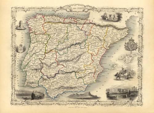 alte-karten-und-zeichnungen - España y Portugal (1851) - Anciennes cartes