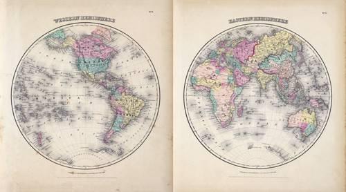alte-karten-und-zeichnungen - Hemisferios Este y Oeste (1855) - Anciennes cartes