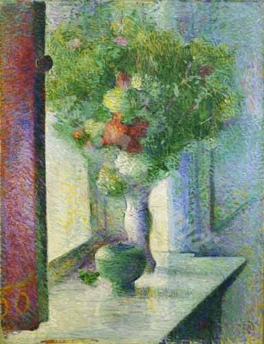 stillleben-gemaelde - Still life with a bunch of flowers by the window - Herrmann, Curt