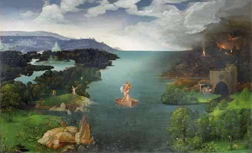 landschaften-gemaelde - El paso de la laguna Estigia - Patinir, Joachim