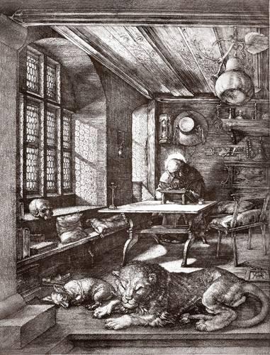 alte-karten-und-zeichnungen - San Jeronimo en su estudio - Dürer, Albrecht (Albert Durer)