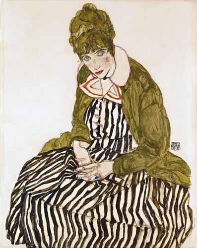 portraetgemaelde - Edith Schiele in Striped Dress, Seated, 1915 - Schiele, Egon