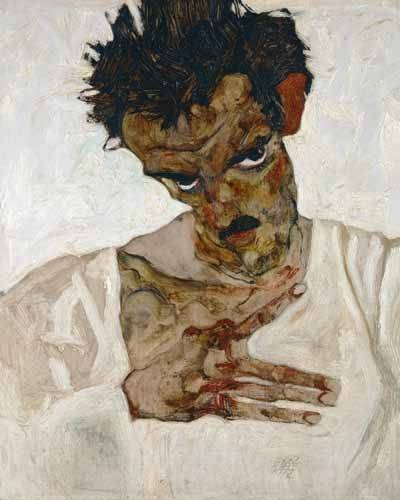 portraetgemaelde - Autoportrait à tête baissée, 1912 - Schiele, Egon