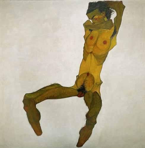 portraetgemaelde - Self-portrait, nude - Schiele, Egon