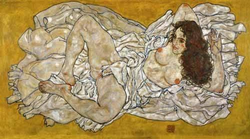 portraetgemaelde - Liegende Frau - Schiele, Egon