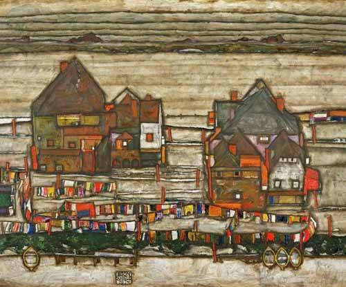 landschaften-gemaelde - Houses and Colorful Laundry (Two Blocks of Houses with Clothes - Schiele, Egon