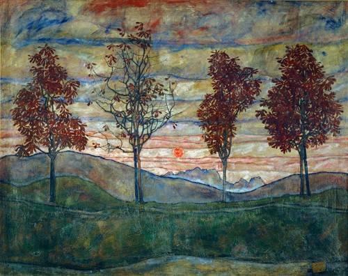 landschaften-gemaelde - Four Trees - Schiele, Egon