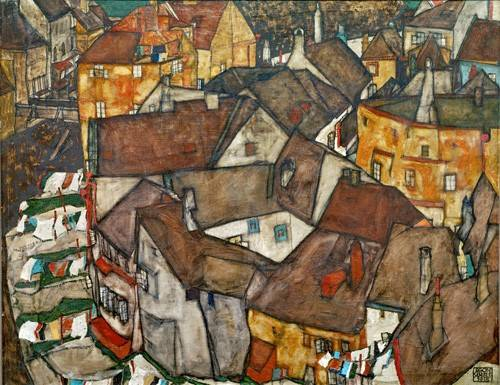 landschaften-gemaelde - A Village - Schiele, Egon