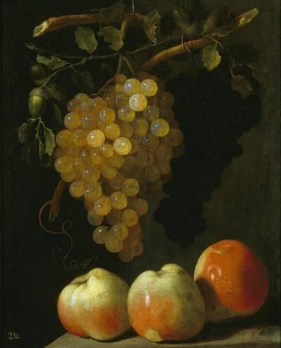 stillleben-gemaelde - Bodegon con uvas y manzanas - Espinosa, Juan Bautista
