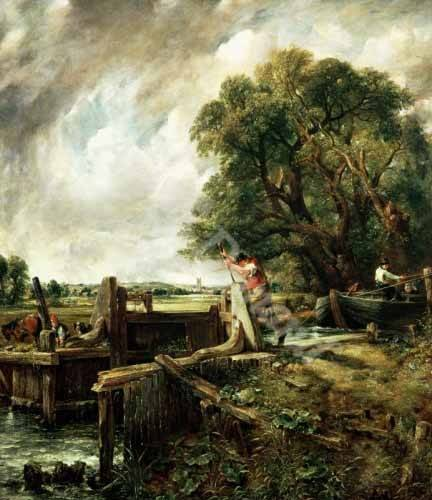 landschaften-gemaelde - Barges passing a lock on the Stour (La Presa) - Constable, John