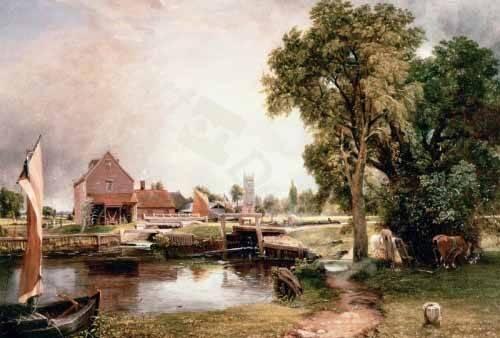 landschaften-gemaelde - Dedham Lock and Mill, 1820 (oil on canvas) - Constable, John
