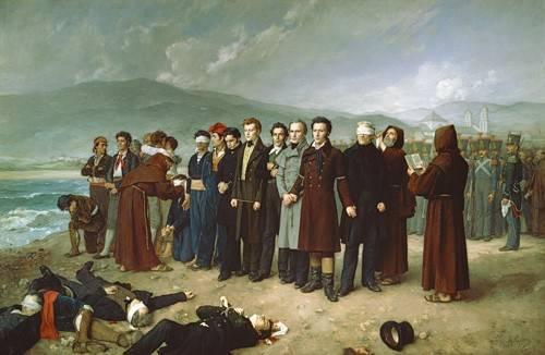 portraetgemaelde - Fusilamientos de Torrijos y sus compañeros en las playas de mal - Gisbert Perez, Antonio