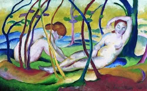 kuenstlerische-aktbilder - Nus sous les arbres, 1911 - Marc, Franz