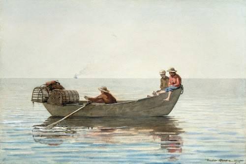 alte-karten-und-zeichnungen - Three Boys in a Dory with Lobster Pots, 1875 - Homer, Winslow