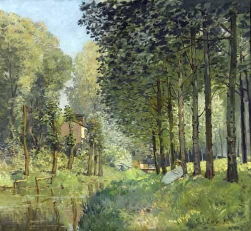 landschaften-gemaelde - Rest along the Stream Edge of the Wood, 1878 - Sisley, Alfred