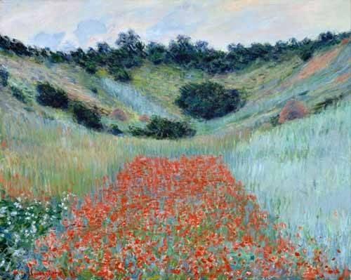 landschaften-gemaelde - Champ de coquelicots dans un creux près de Giverny, 1885 - Monet, Claude