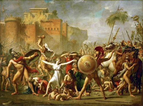 portraetgemaelde - The Sabine women halting the battle between Romans and Sabines, - David, Jacques Louis
