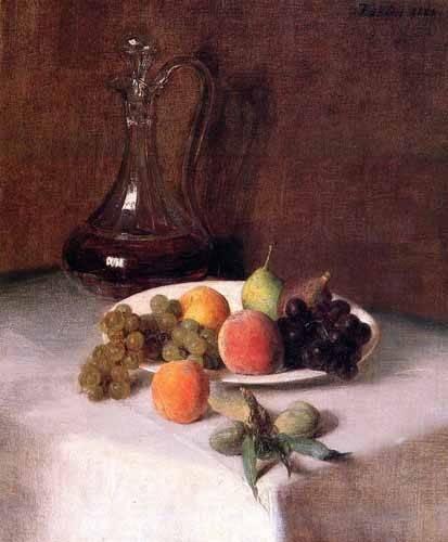 bilder-fuer-ein-esszimmer - Jarra de vino y plato de frutas sobre mantel blanco - Fantin Latour, Henri