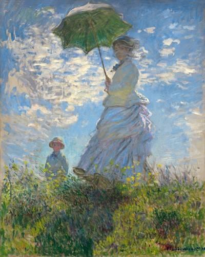 portraetgemaelde - Frau mit Sonnenschirm - Madame Monet mit ihrem Sohn, 1875 - Monet, Claude