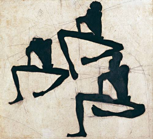 abstrakte-gemaelde - Abstrakt, Komposition von drei nackten männlichen Figuren, 1910 - Schiele, Egon