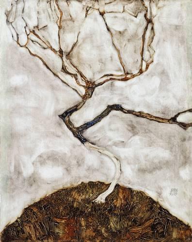 abstrakte-gemaelde - Small Tree in Late Autumn, 1911 - Schiele, Egon