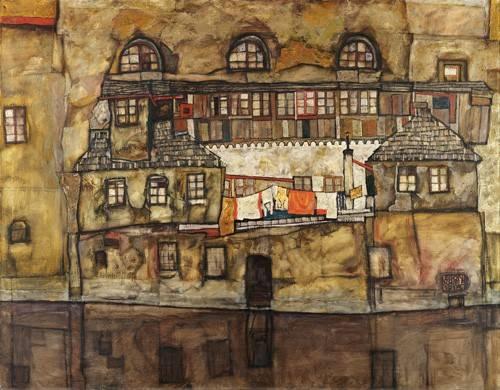 landschaften-gemaelde - House Wall on the River, 1915 - Schiele, Egon