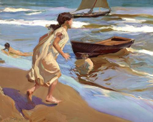 portraetgemaelde - Petite fille entrant dans la mer - Sorolla, Joaquin