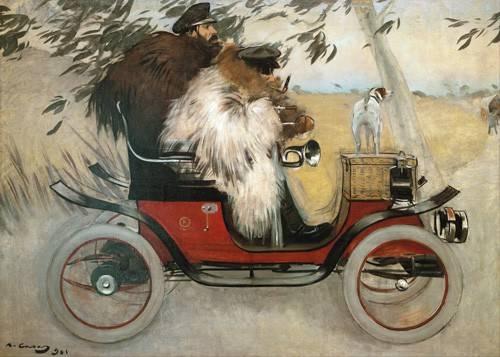 portraetgemaelde - Ramon Casas y Pere Romeu en automovil, 1901 - Casas i Carbó, Ramón