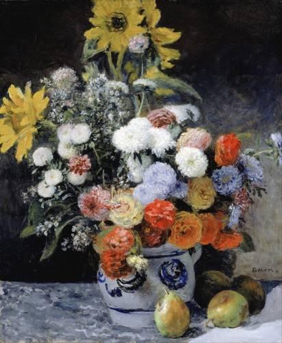 blumen-und-pflanzen - Fleurs mélangées dans un pot en argile, 1869 - Renoir, Pierre Auguste