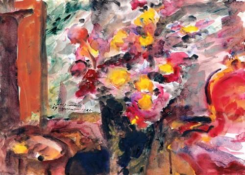 blumen-und-pflanzen - Flower Vase on a Table - Corinth, Lovis