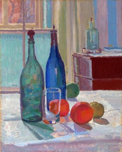 stillleben-gemaelde - Bouteilles Bleues et Vertes et Oranges, 1914 - Gore, Spencer