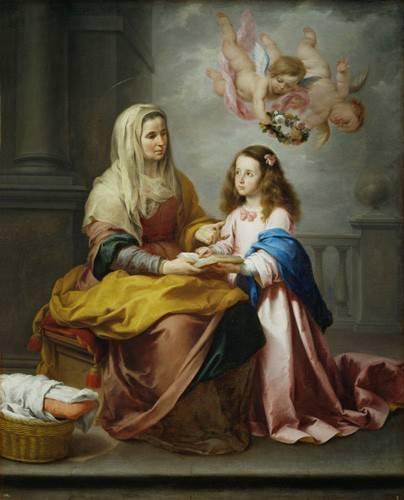 religioese-gemaelde - Santa Ana y la Virgen, 1655 - Murillo, Bartolome Esteban
