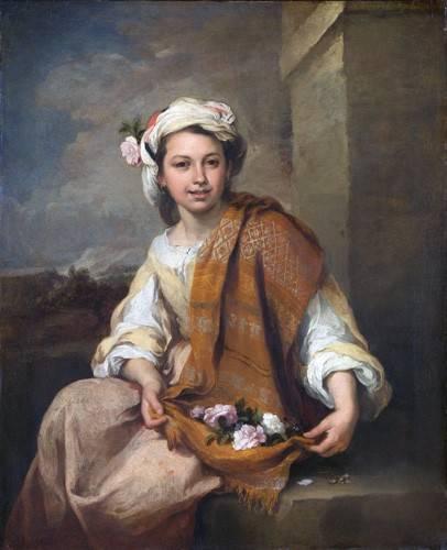 portraetgemaelde - La Niña de las Flores, 1670 - Murillo, Bartolome Esteban