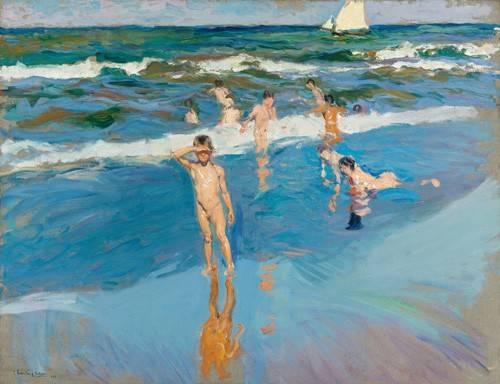 seelandschaft - Enfants dans la mer, plage de Valence - Sorolla, Joaquin