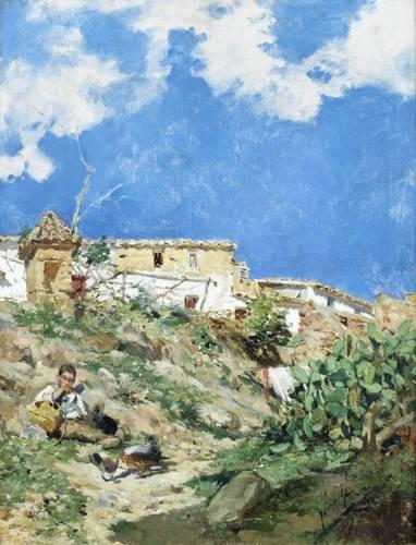 landschaften-gemaelde - Paysage avec figure à Sagunto (Valence) - Sorolla, Joaquin