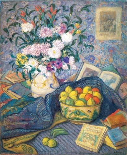stillleben-gemaelde - Jarron de flores con plátanos, limones y libros, 1917 - Echevarria, Juan de