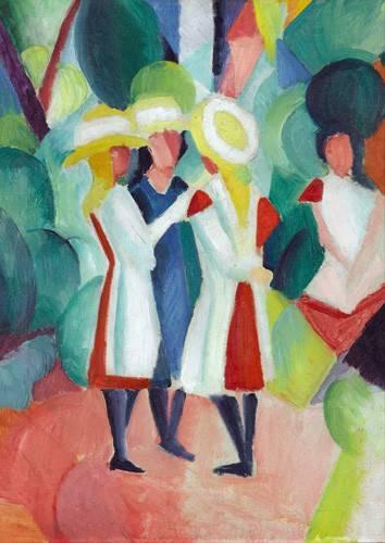 portraetgemaelde - Three girls in yellow straw hats, 1913 - Macke, August