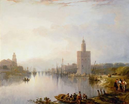 landschaften-gemaelde - La Torre del Oro, Sevilla - Roberts, David