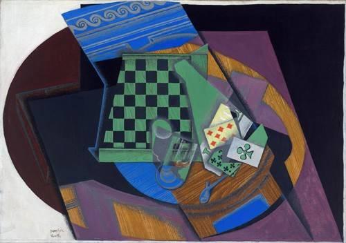 abstrakte-gemaelde - Schachbrett und Spielkarten, 1919 - Gris, Juan